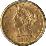 1887-S Liberty Gold $5 PCGS MS64 Nice Luster Nice Strike
