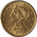 1908 Liberty Gold $5 PCGS MS64 Nice Luster Nice Strike