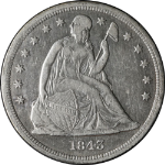 1843 Seated Liberty Dollar XF Details Nice Strike