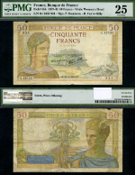FR. 85 B 50 1937-40 World Paper Money France PMG VF25