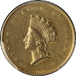 1855-P Type 2 Indian Princess Gold $1 PCGS AU55 Nice Luster Nice Strike