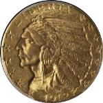 1912-P Indian Gold $5 PCGS MS63 Nice Luster Nice Strike Spot Free