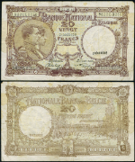 FR. 111 20 Franc 1940 World Paper Money Belgium VF