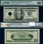 FR. 2083 A $20 1996 Federal Reserve Note Boston Doubled Print Error PMG XF40 EPQ