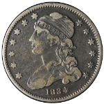 1834 Bust Quarter Nice XF O Over F in F Nice Strike