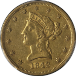 1842-P Liberty Gold $10 PCGS AU50 Large Date Nice Strike