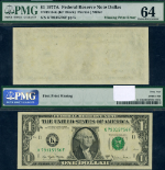FR. 1910 K $1 1977-A Federal Reserve Note Dallas Missing Choice PMG CU64