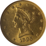 1905-P Liberty Gold $10 NGC MS61 Fantastic Luster Nice Strike