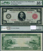 FR. 954 A $20 1914 Federal Reserve Note Philadelphia Red Seal Choice PMG VF35 NET