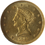 1842-P Liberty Gold $10 NGC MS60 Small Date Nice Strike RARE