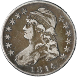 1814 Bust Half Dollar Choice VF Single Leaf Below Wing 0-105a R.4 Nice Strike