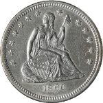 1860-O Seated Liberty Quarter AU/BU Details Key Date Nice Strike