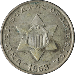 1853 Three (3) Cent Silver