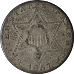 1857 Three (3) Cent Silver