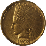 1908-P Indian Gold $10 No Motto NGC AU58 Great Eye Appeal Nice Luster