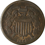 1864 Two (2) Cent Piece Re-Cut Date