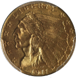 1911-P Indian Gold $2.50 PCGS MS62 Great Eye Appeal Fantastic Luster Nice Strike