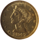 1847-P Liberty Gold $5 NGC AU55 Nice Eye Appeal Nice Luster Spot Free