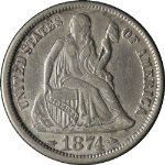 1874-P Seated Liberty Dime