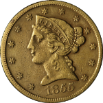 1855-S Liberty Gold $5 No Motto XF Details Decent Eye Appeal Tough To Find