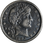 1893-O Barber Quarter Nice AU Nice Eye Appeal Nice Strike