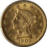1903 Liberty Gold $2.50 PCGS MS65 Great Eye Appeal Fantastic Luster
