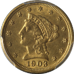 1903 Liberty Gold $2.50 PCGS MS62 Nice Eye Appeal Nice Luster Nice Strike