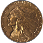 1909 Indian Gold $2.50 PCGS MS61 Decent Eye Appeal Nice Luster Nice Strike
