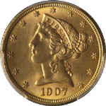 1907-P Liberty Gold $5 PCGS MS64 Nice Eye Appeal Fantastic Luster Nice Strike