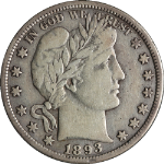 1893-S Barber Half Dollar Choice VF+ Key Date Great Eye Appeal Nice Strike