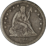 1860-O Seated Liberty Quarter