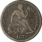 1878-CC Seated Liberty Dime Choice VG/F Key Date Great Eye Appeal Nice Strike