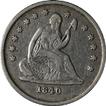 1840-O Seated Liberty Quarter No Drapery Choice VF/XF Great Eye Appeal