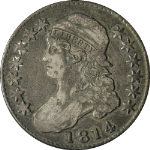 1814 Bust Half Dollar Choice F Details 0-105 R.2 Nice Eye Appeal Nice Strike