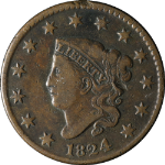 1824 Large Cent Nice F Details N.2 R.1 Nice Eye Appeal Nice Strike Great Color