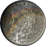 1879-P Morgan Silver Dollar Rainbow Toning PCGS MS63 Superb Eye Appeal