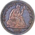 1863 Seated Liberty Quarter Proof Civil War Date PCGS PR64 Great Eye Appeal
