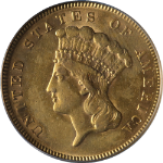1878 Indian Princess Gold $3 PCGS AU55 Decent Eye Appeal Nice Strike