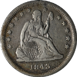 1843-O Seated Liberty Quarter VF/XF Details Nice Eye Appeal Nice Strike