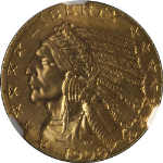 1908-P Indian Gold $5 NGC MS64 Superb Eye Appeal Fantastic Luster Nice Strike