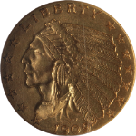 1909 Indian Gold $2.50 NGC MS63 Nice Eye Appeal Nice Luster Nice Strike