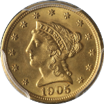 1905 Liberty Gold $2.50 PCGS MS64 Superb Eye Appeal Fantastic Luster Nice Strike