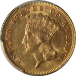 1878 Indian Princess Gold $3 PCGS MS62 Great Eye Appeal Nice Luster Nice Strike
