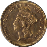 1874 Indian Princess Gold $3 PCGS MS61 Great Eye Appeal Nice Luster Nice Strike