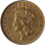 1878 Indian Princess Gold $3 AU50 Decent Eye Appeal Nice Strike