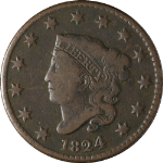 1824 Large Cent Choice F N.2 R.1 Great Eye Appeal Nice Strike