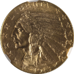 1913-P Indian Gold $5 NGC MS64 Superb Eye Appeal Blazing Luster Nice Strike