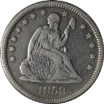 1858-O Seated Liberty Quarter Nice VF Details Nice Eye Appeal Nice Strike