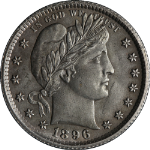 1896-O Barber Quarter Choice BU Details Key Date Great Eye Appeal Nice Strike