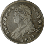 1811 Bust Half Dollar Small 8 Nice F+ 0-110 R.1 Great Eye Appeal Nice Strike